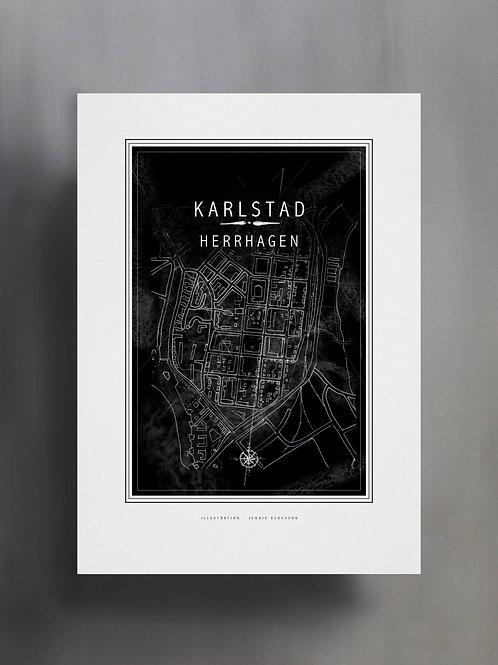 Handtecknad poster i akvarell med färgen svart, en karta över Herrhagen, Karlstad