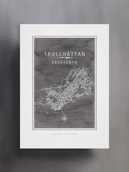 Handtecknad poster i akvarell i färgen stengrå, en karta över Trollhättan, Skoftebyn