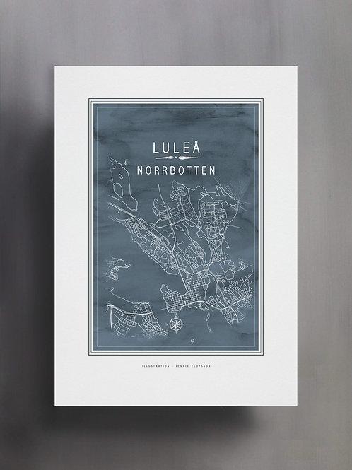 Handtecknad poster i akvarell i färgen blågrå, en karta över Luleå, Norrbotten