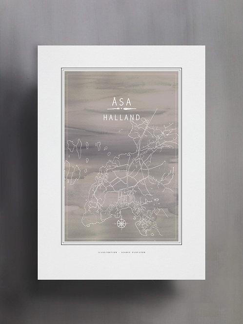 Handtecknad poster i akvarell i färgen grå, en karta över Åsa, Halland