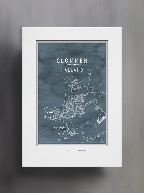 Handtecknad poster i akvarell i färgen blågrå, en karta över Glommen, Halland