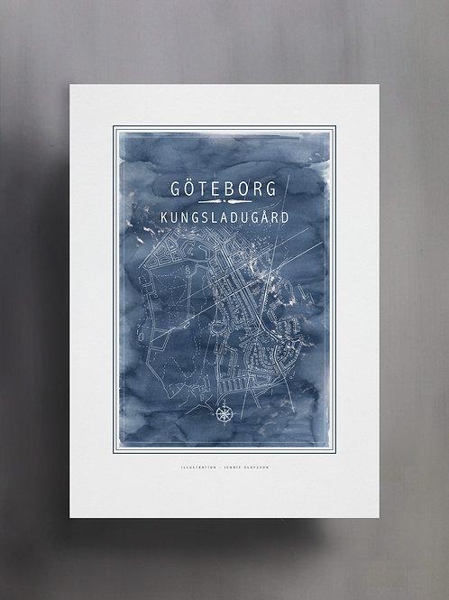 Handtecknad poster i akvarell i färgen blå, en karta över Kungsladugård, Göteborg