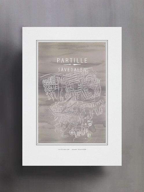 Handtecknad poster i akvarell i färgen grå, en karta över Sävedalen, Partille