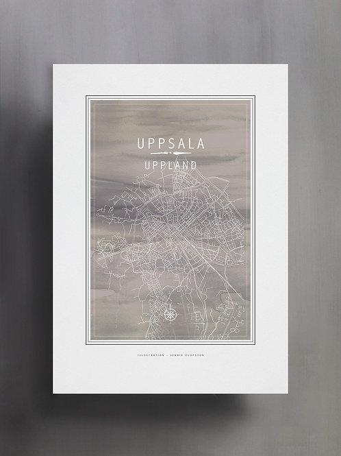 Handtecknad poster i akvarell i färgen grå, en karta över Uppsala, Uppland