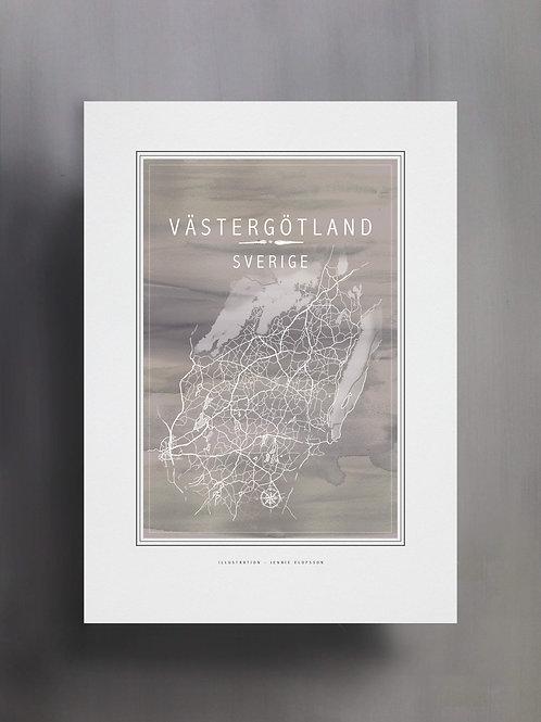 Handtecknad poster i akvarell i färgen grå, en karta över Västergötland, Sverige
