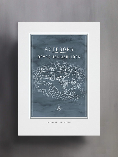 Handtecknad poster i akvarell i färgen blågrå, en karta över Öfvre hammarliden, Göteborg