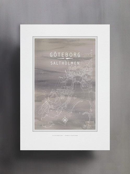 Handtecknad poster i akvarell med färgen grå, en karta över Saltholmen, Göteborg