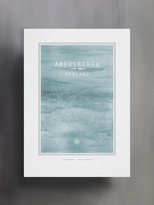 Handtecknad poster i akvarell i färgen ljusblå, en karta över Åkersberga, Uppland
