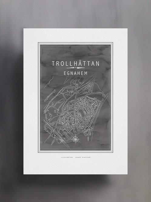 Handtecknad poster i akvarell i färgen stengrå, en karta över Egnahem, Trollhättan