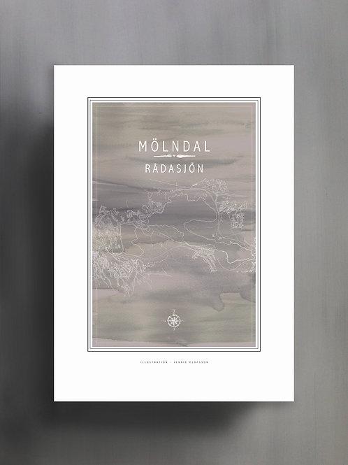 Handtecknad poster i akvarell i färgen grå, en karta över Rådasjön, Mölndal