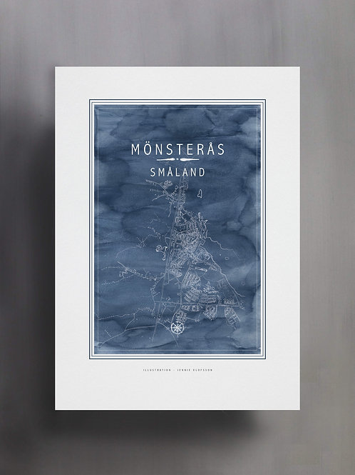 Handtecknad poster i akvarell i färgen isblå, en karta över Mönsterås, Småland