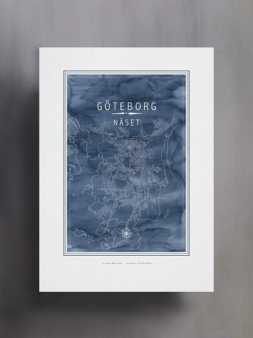 Handtecknad poster i akvarell med färgen blå, en karta över Näset, Göteborg
