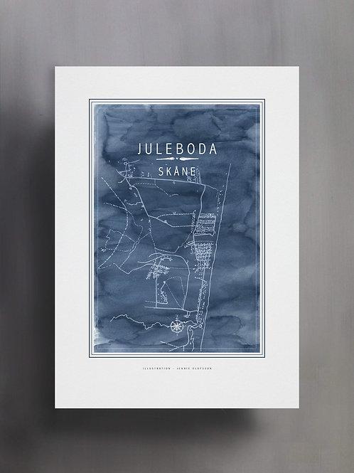 Handtecknad poster i akvarell i färgen blå, en karta över Juleboda, Skåne