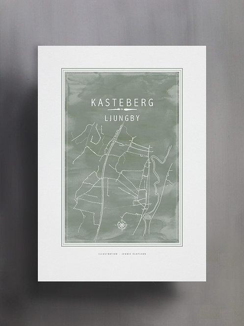 Handtecknad poster i akvarell i färgen eucalyptus, en karta över Kasteberg, Ljungby