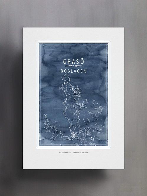 Handtecknad poster i akvarell i färgen blå, en karta över Gräsö, Roslagen