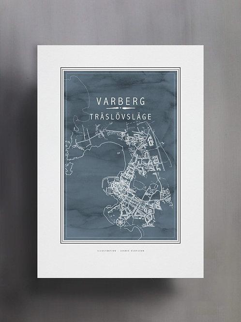 Handtecknad poster i akvarell i färgen blågrå, en karta över Träslövsläge, Varberg