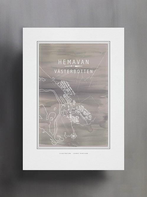 Handtecknad poster i akvarell med färgen sand, en karta över Hemavan, Västerbotten