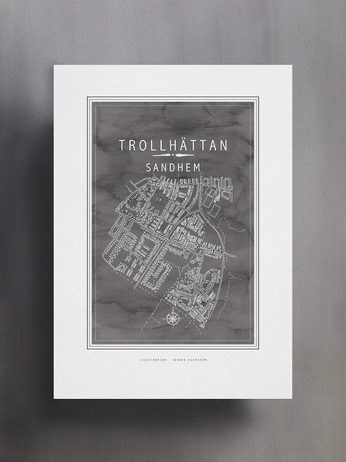 Handtecknad poster i akvarell i färgen stengrå, en karta över Sandhem, Trollhättan