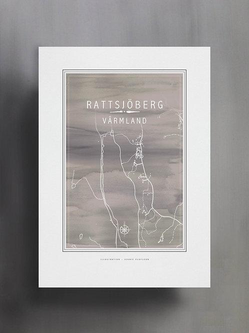 Handtecknad poster i akvarell med färgen grå, en karta över Rattsjöberg, Värmland