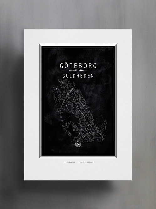 Handtecknad poster i akvarell med färgen svart, en karta över Guldheden, Göteborg
