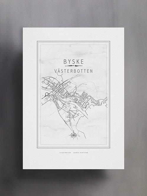 Handtecknad poster i akvarell med färgen vit, en karta över Byske, Västerbotten