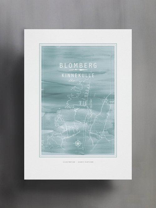 Handtecknad poster i akvarell i färgen ljusblå, en karta över Blomberg, Kinnekulle