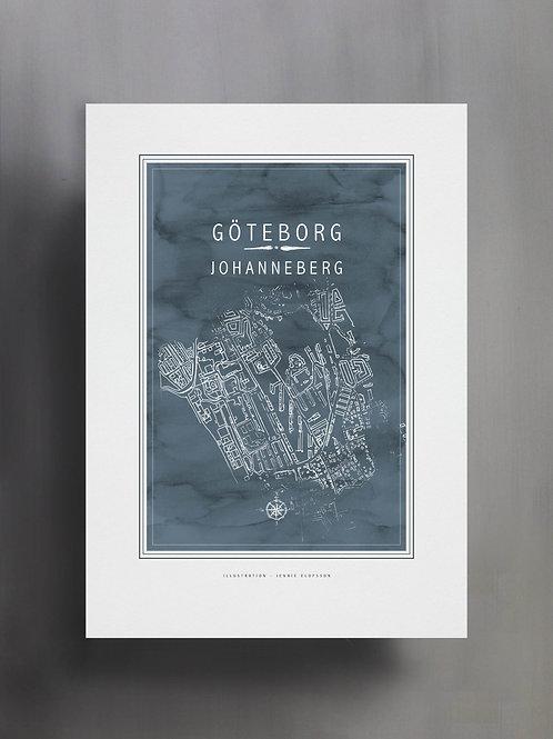 Handtecknad poster i akvarell i färgen blågrå, en karta över Johanneberg, Göteborg