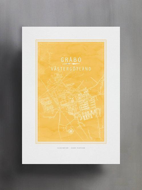 Handtecknad poster i akvarell i färgen solros, en karta över Gråbo, Västergötland