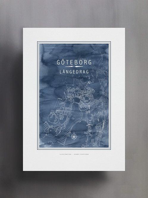 Handtecknad poster i akvarell i färgen blå, en karta över Långedrag, Göteborg