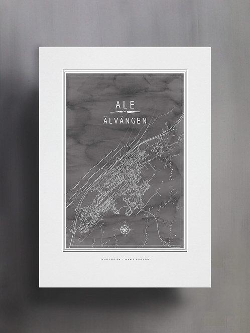 Handtecknad poster i akvarell i färgen stengrå, en karta över Älvängen, Ale