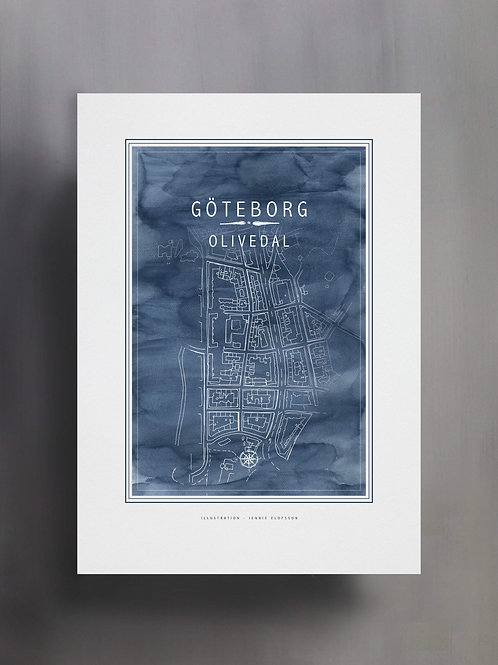 Handtecknad poster i akvarell med färgen blå, en karta över Olivedal, Göteborg