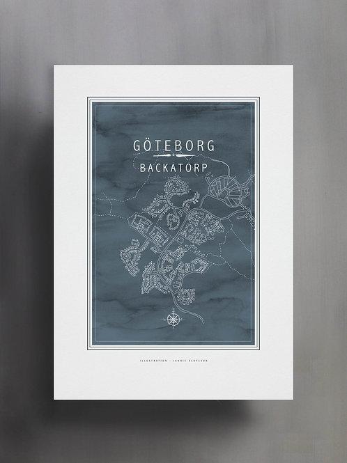 Handtecknad poster i akvarell med färgen gråblå, en karta över Backatorp, Göteborg
