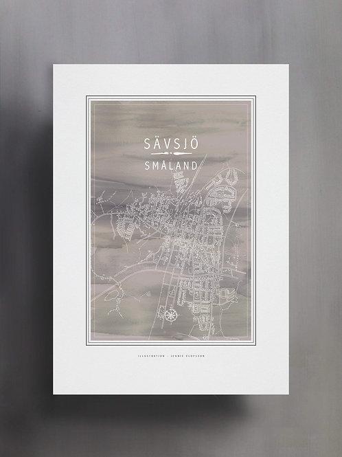 Handtecknad poster i akvarell i färgen grå, en karta över Sävsjö, Småland