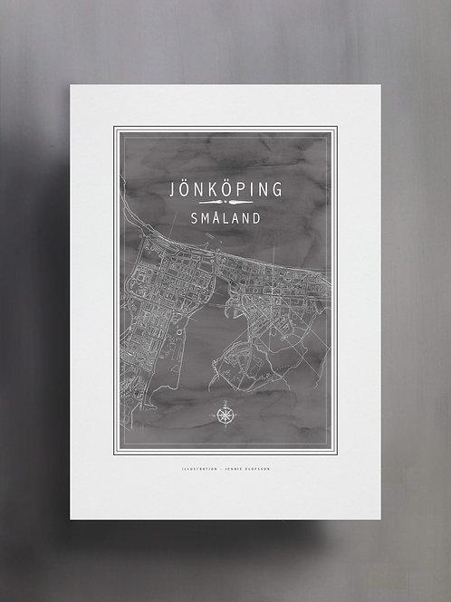 Handtecknad poster i akvarell i färgen stengrå, en karta över Jönköping, Småland