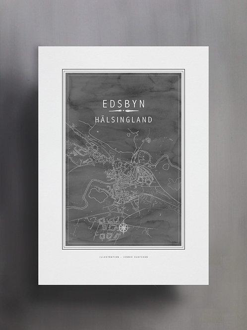 Handtecknad poster i akvarell i färgen stengrå, en karta över Edsbyn, Hälsingland