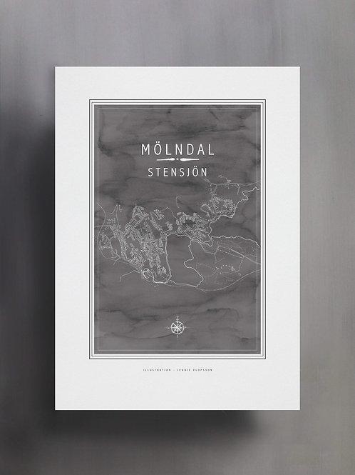 Handtecknad poster i akvarell i färgen stengrå, en karta över Stensjön, Mölndal