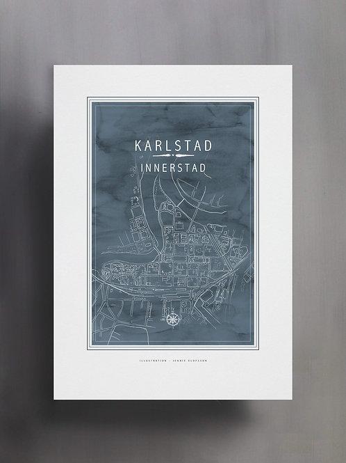 Handtecknad poster i akvarell med färgen blågrå, en karta över Karlstad innerstad