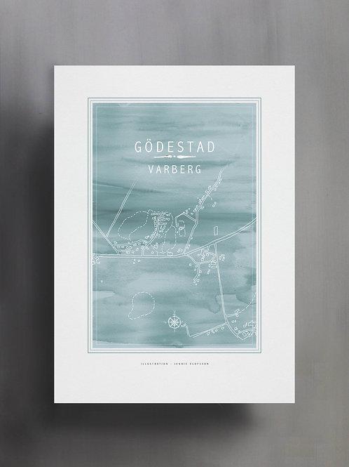 Handtecknad poster i akvarell i färgen ljusblå, en karta över Gödestad, Varberg