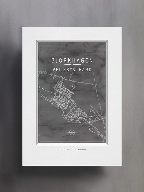 Handtecknad poster i akvarell i färgen stengrå, en karta över Björkhagen, Veijebystrand