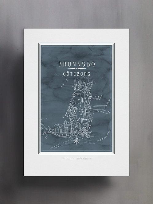 Handtecknad poster i akvarell med färgen blå, en karta över Brunnsbo, Göteborg