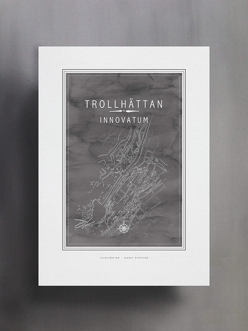 Handtecknad poster i akvarell i färgen stengrå, en karta över Innovatum, Trollhättan