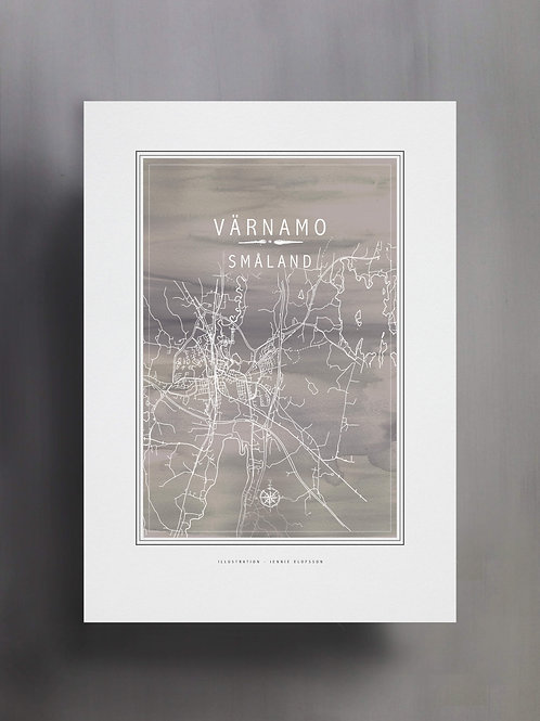 Handtecknad poster i akvarell i färgen grå, en karta över Värnamo, Småland