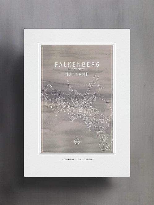 Handtecknad poster i akvarell i färgen grå, en karta över Falkenberg, Halland