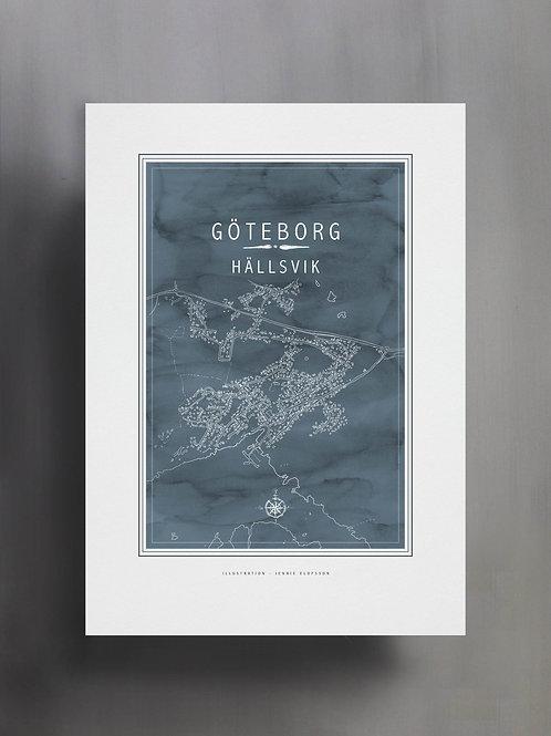 Handtecknad poster i akvarell i färgen isblå, en karta över Hällsvik, Göteborg