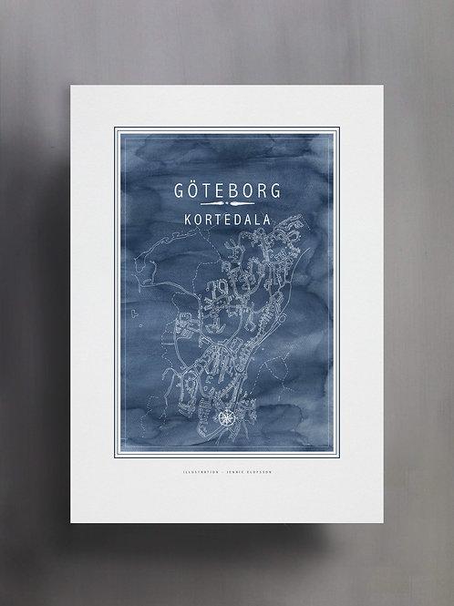 Handtecknad poster i akvarell i färgen blå, en karta över Kortedala, Göteborg