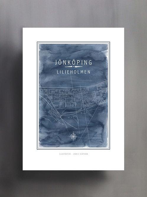Handtecknad poster i akvarell i färgen blå, en karta över Liljeholmen, Jönköping