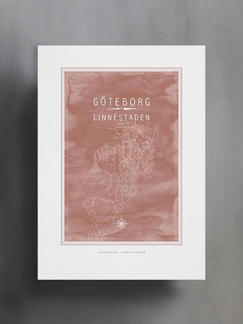 Handtecknad poster i akvarell i färgen smutsrosa, en karta över Linnéstaden, Göteborg