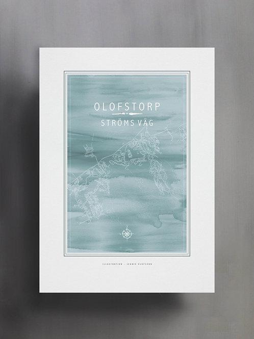 Handtecknad poster i akvarell i färgen ljusblå, en karta över Olofstorp, Ströms väg