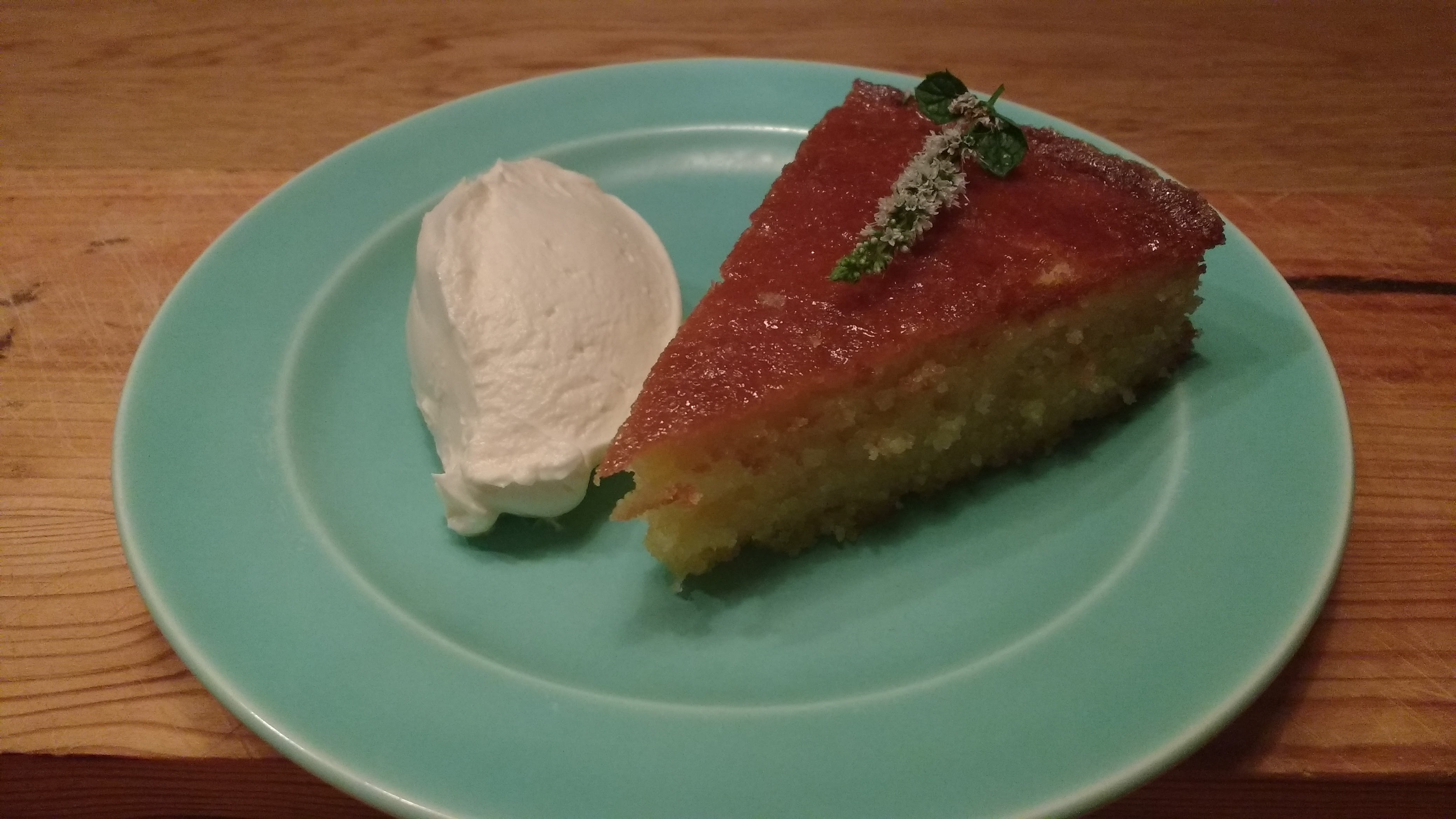 Lemon Polenta Cake with Ginger Ice Cream