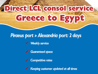 NEW EXCLUSIVE LCL SERVICE! Greece to Egypt